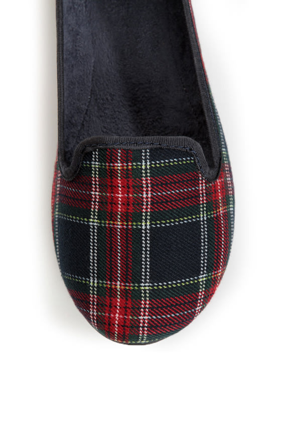 Rocket Dog Morrison Navy Mini Tart Plaid Smoking Slipper Flats at Lulus.com!