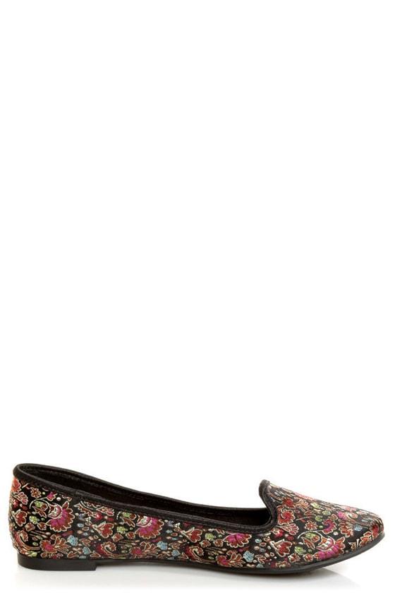 Rocket Dog Morrison Black Opera Brocade Smoking Slipper Flats