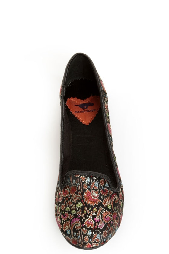 Rocket Dog Morrison Black Opera Brocade Smoking Slipper Flats