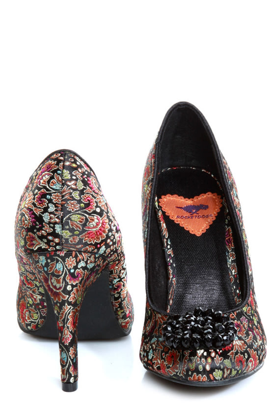 Rocket Dog Ophelia Black Opera Brocade Beaded Heels
