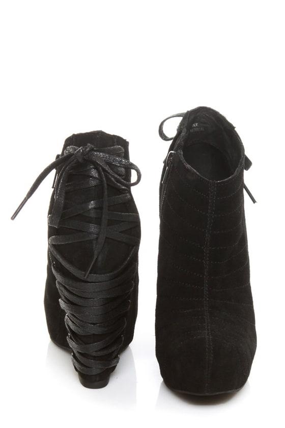 Restricted Wicked Black Suede Corset Wedge Booties