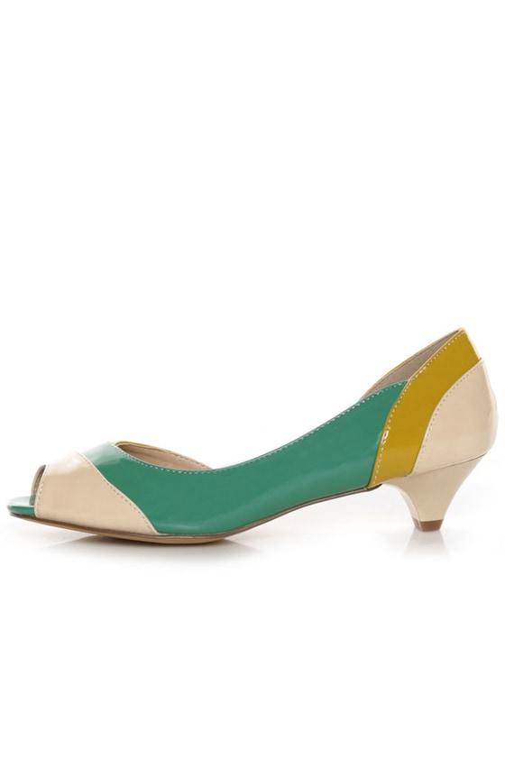 a9578bbe566 unRestricted Wonder Green Color Block Patent Kitten Heels -  58.00