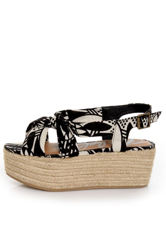 Rebels Osaka Black & White Print Knotty Platform Sandals