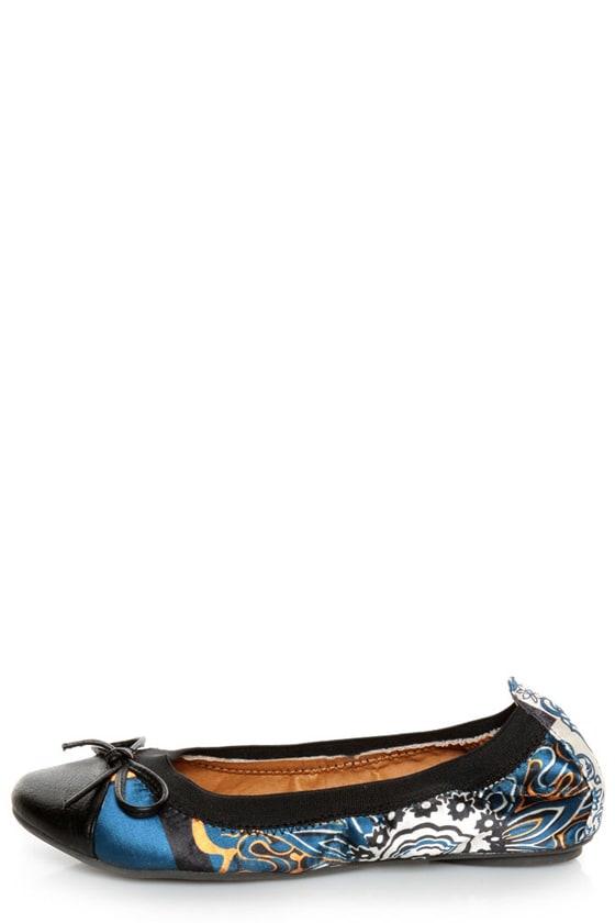 Rebels Pandora Black Scarf Print Cap-Toe Ballet Flats