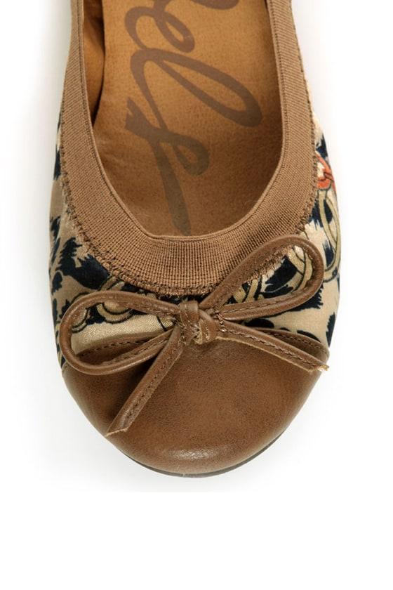 Rebels Pandora Tan Scarf Print Cap-Toe Ballet Flats