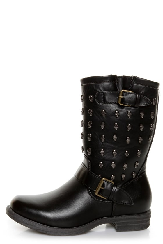 Rebels Skully Black Skull-Studded Mid-Calf Motorcycle Boots