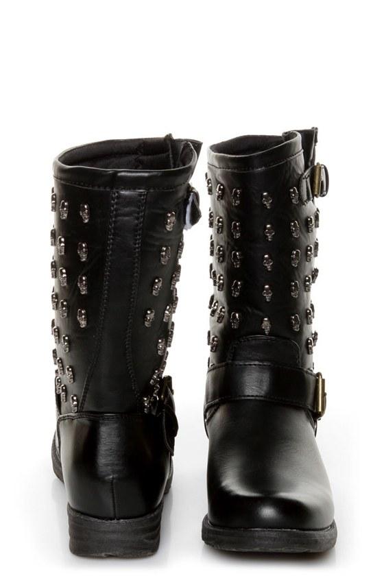 Rebels Skully Black Skull-Studded Mid-Calf Motorcycle Boots