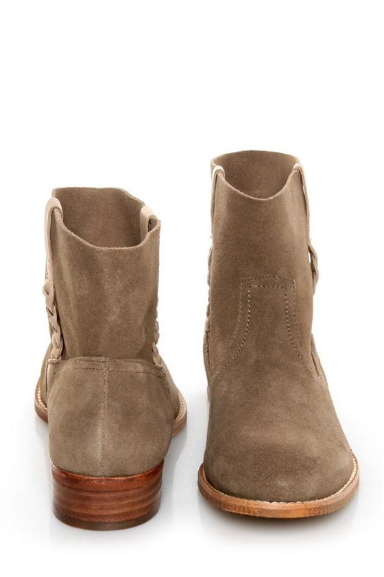 Report Rudy Taupe Suede Side Braid Ankle Boots