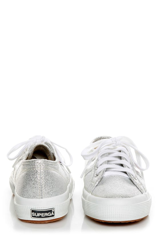 Superga 2750 Lamew Silver Lamé Lace-Up Sneakers