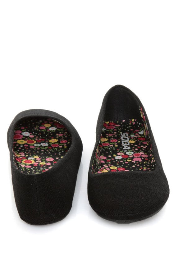 Soda Afar Black Linen Ballet Flats