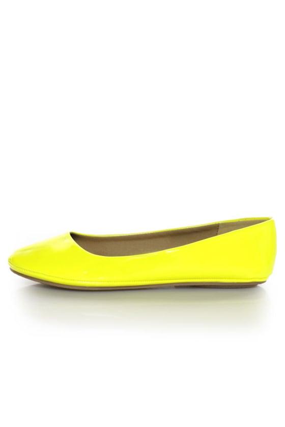 6e454a060dbc Soda Afar Yellow Neon Patent Ballet Flats -  15.00