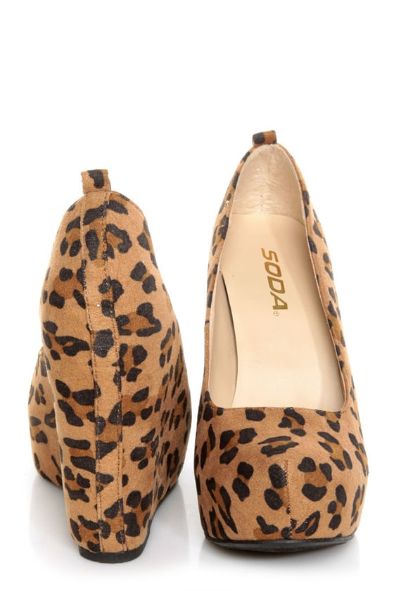 Soda Alfa Tan Leopard Print Platform Wedges at Lulus.com!