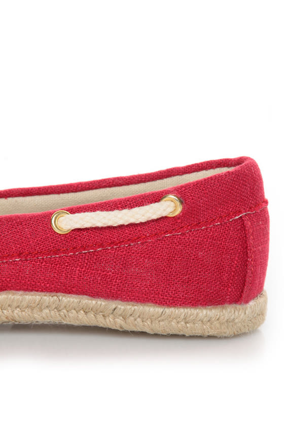 Soda Beside Red Linen Deck Shoe Flats