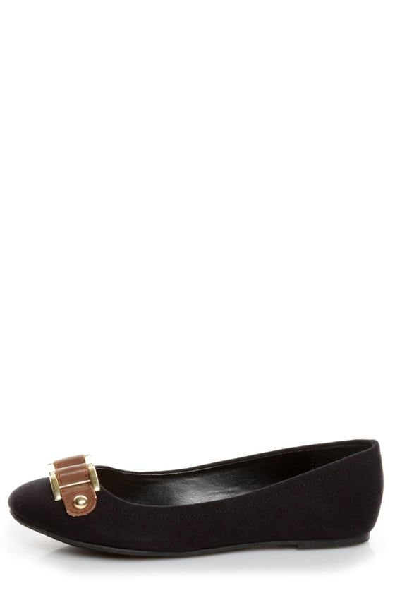 Soda Besty Black Charming Chain Ballet Flats