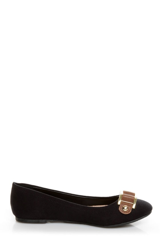 Soda Besty Black Charming Chain Ballet Flats at Lulus.com!