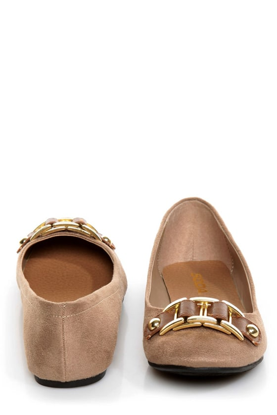 Soda Besty Light Taupe Charming Chain Ballet Flats at Lulus.com!