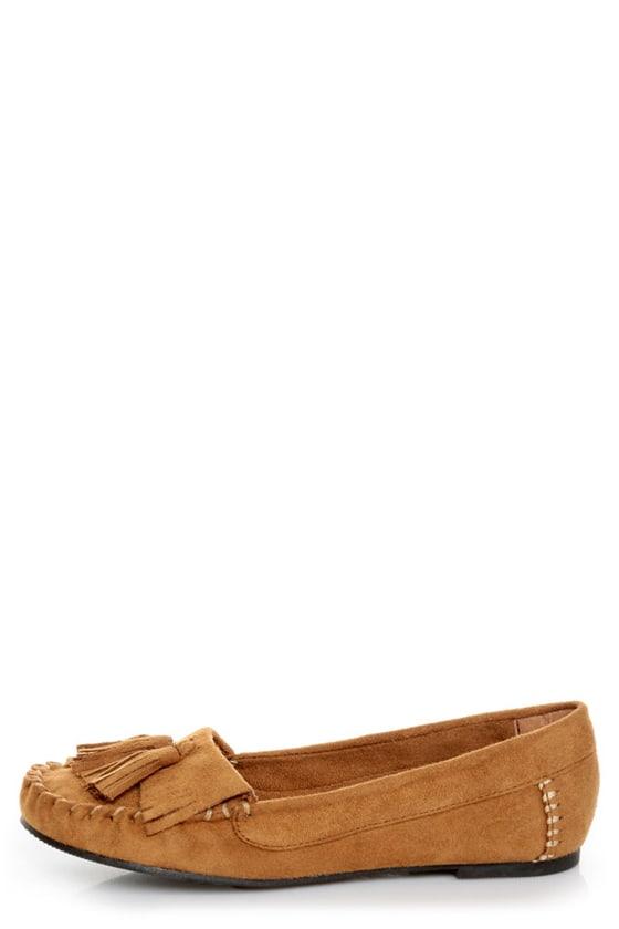 Soda Brook British Tan Kiltie Moccasin Flats