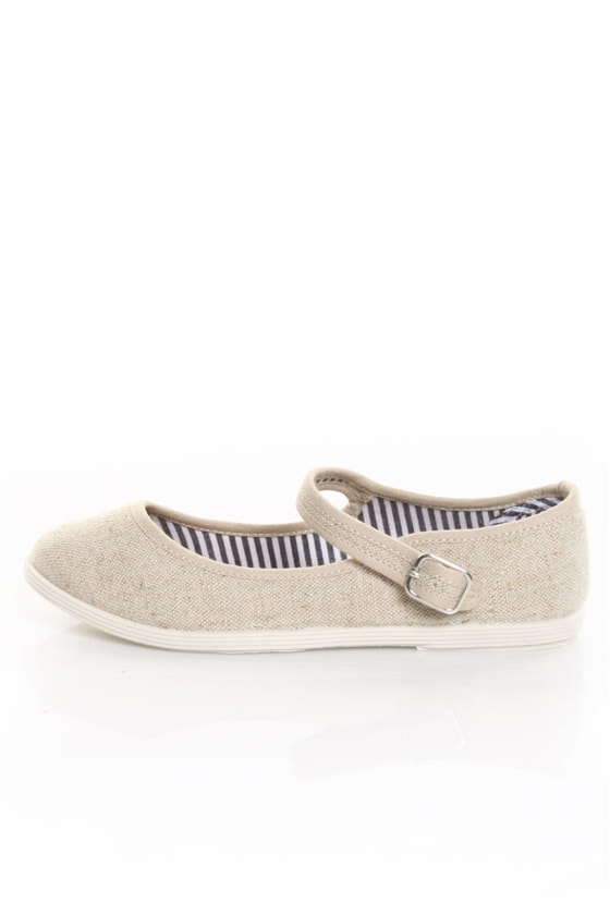 Soda Crase Beige Linen Mary Jane Ballet Flats