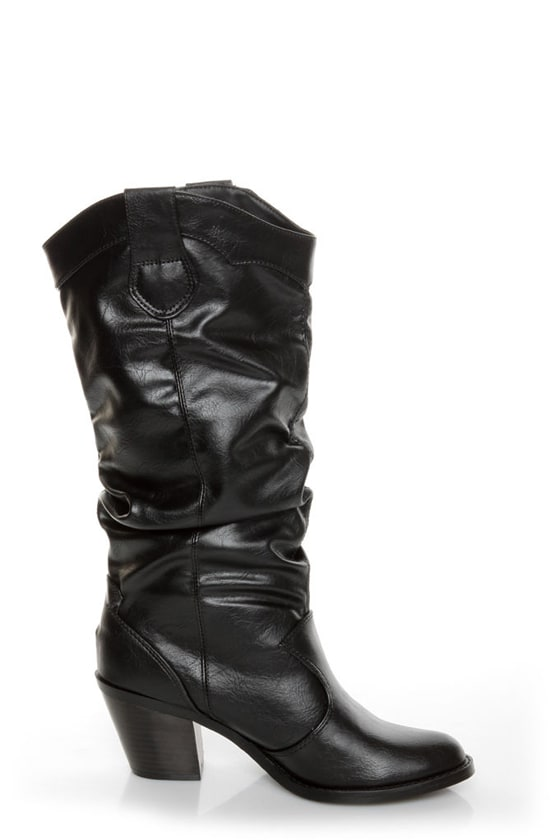 Soda Lode Black Slouchy Mid Calf Boots
