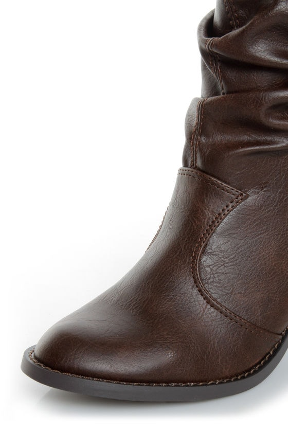 Soda Lode Brown Slouchy Mid Calf Boots at Lulus.com!
