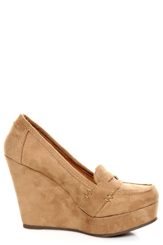 Soda Patio Light Taupe Platform Penny Loafer Wedges