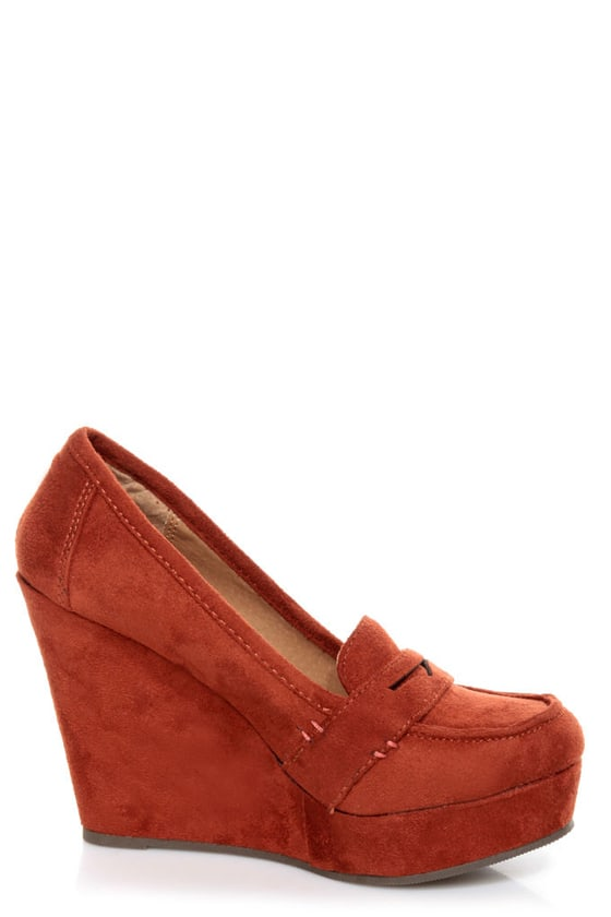 Soda Patio Rust Red Platform Penny Loafer Wedges at Lulus.com!