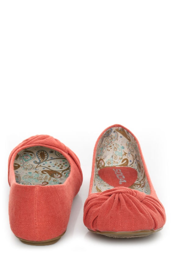 Soda Pozo Dark Salmon Linen Ruched Ballet Flats at Lulus.com!