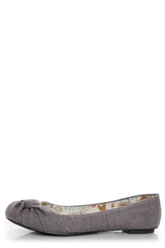 Soda Pozo Mid Charcoal Linen Ruched Ballet Flats