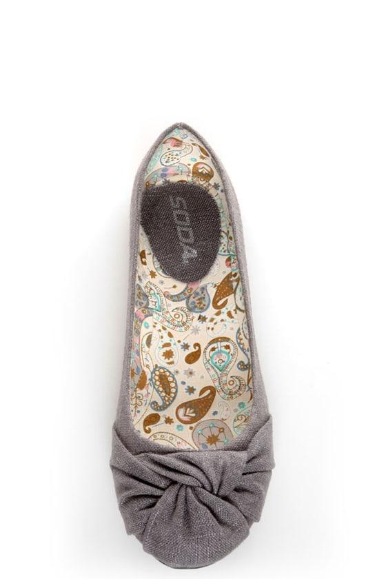 Soda Pozo Mid Charcoal Linen Ruched Ballet Flats