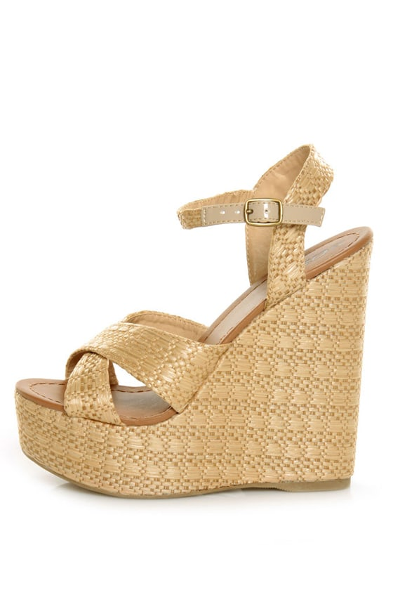 Soda Sneak Natural Raffia Basket Weave Wedge Sandals