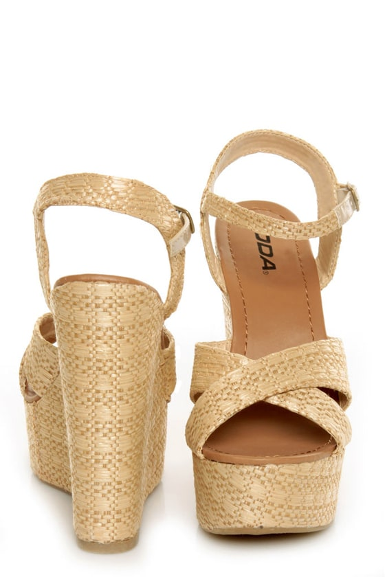 Basket Weaving With Raffia : Soda sneak natural raffia basket weave wedge sandals