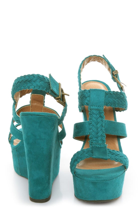 Soda Sotto Deep Teal Braided T-Strap Wedges