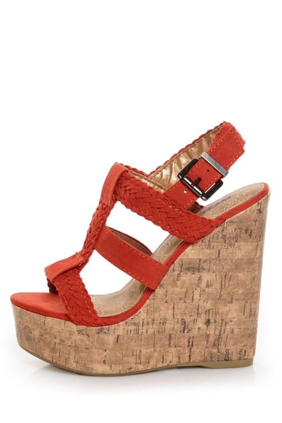 Soda Sotto Burnt Orange Braided T-Strap Wedges