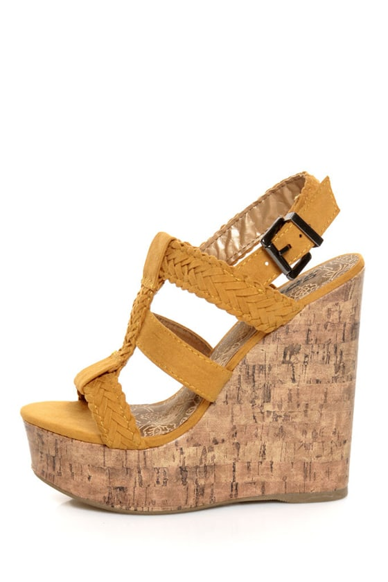 Soda Sotto Mustard Yellow Braided T-Strap Wedges