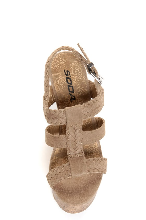 Soda Sotto Stone Taupe Braided T-Strap Wedges