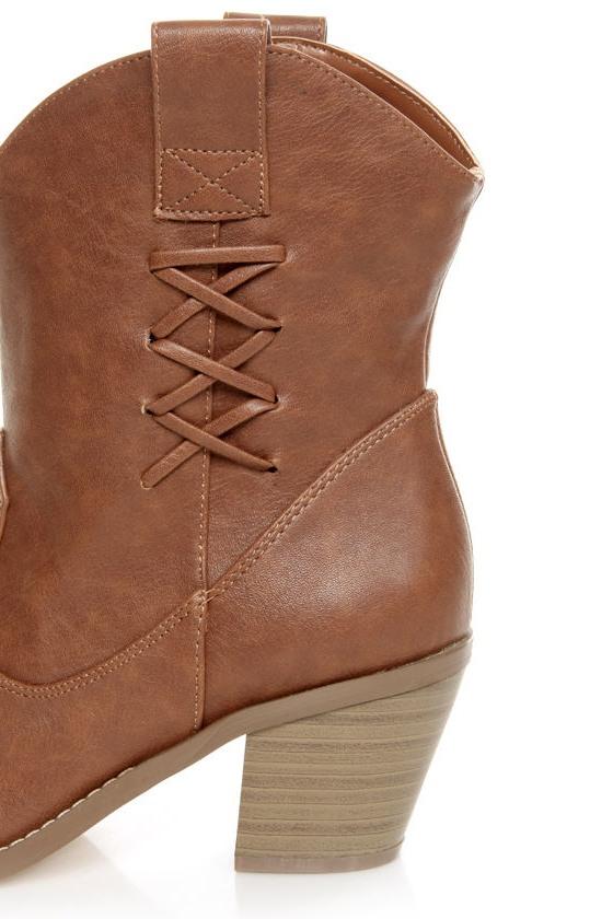 Soda Tri Cognac Brown Cowboy Boots