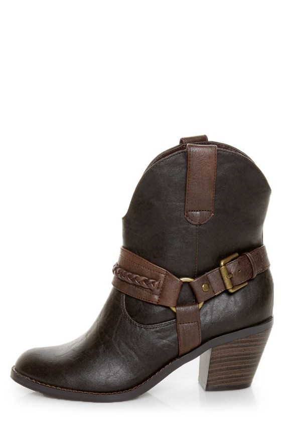 Soda West Dark Brown Harness Mid Calf Cowgirl Boots
