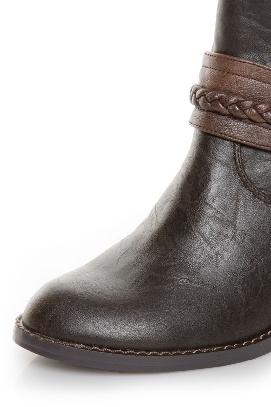 Soda West Dark Brown Harness Mid Calf Cowgirl Boots at Lulus.com!