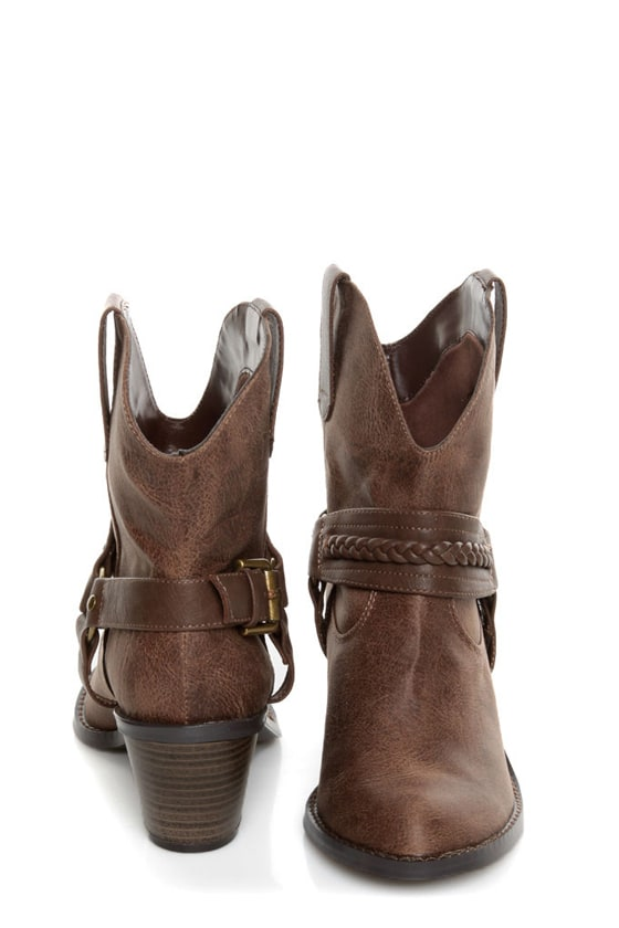 Soda West Light Brown Harness Mid Calf Cowgirl Boots at Lulus.com!