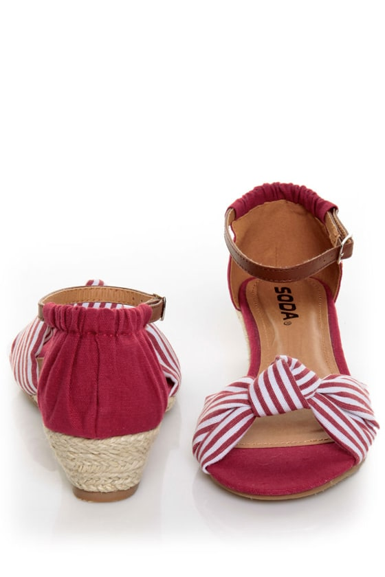 Soda Zaria Red & White Stripe Espadrille Sliver Wedges