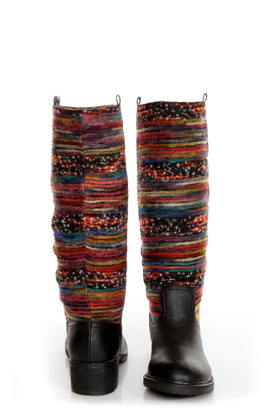 Sbicca El Dorado Black Multi Striped Riding Boots at Lulus.com!