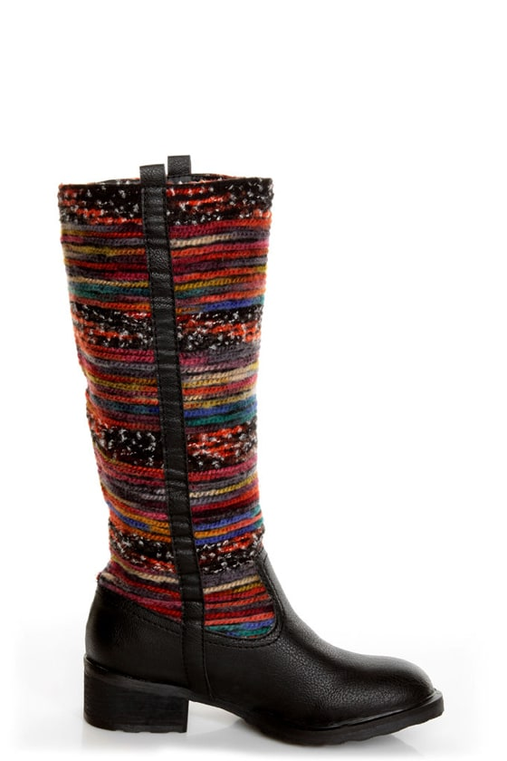 Sbicca El Dorado Black Multi Striped Riding Boots