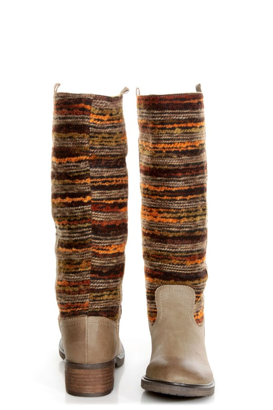 Sbicca El Dorado Taupe Multi Striped Riding Boots at Lulus.com!