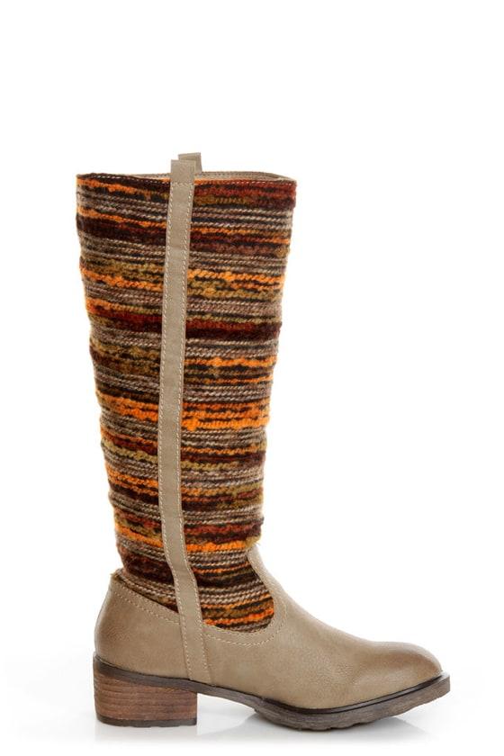 Sbicca El Dorado Taupe Multi Striped Riding Boots