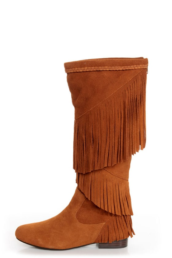 Sbicca Shyann Tan Suede Fringe Knee High Boots