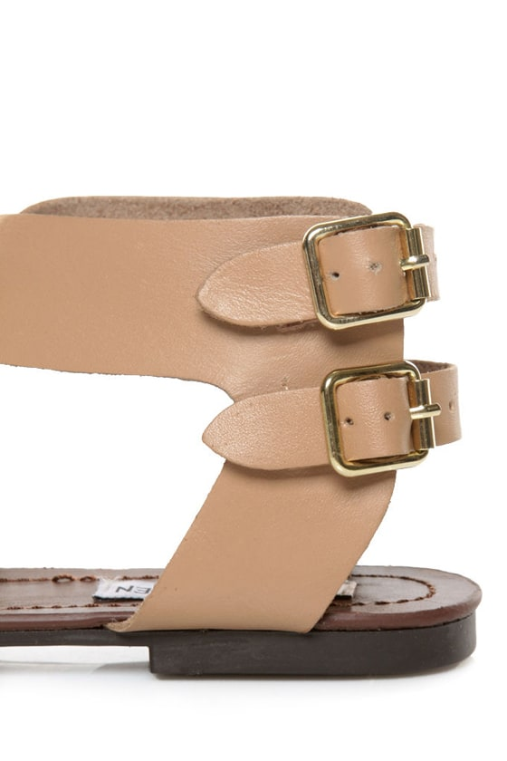 Steve Madden Achilees Natural Leather Flat Gladiator Sandals