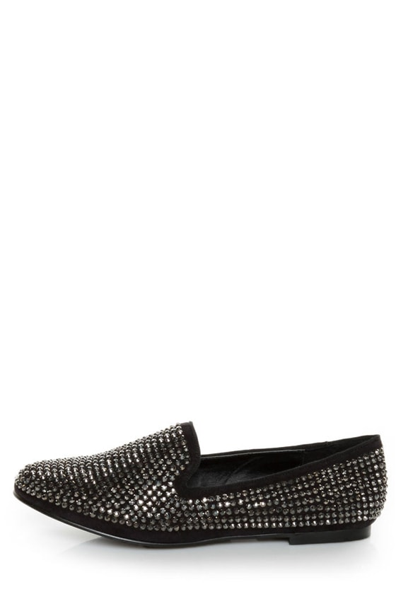 Steve Madden Conncord Black Bejeweled Smoking Slipper Flats