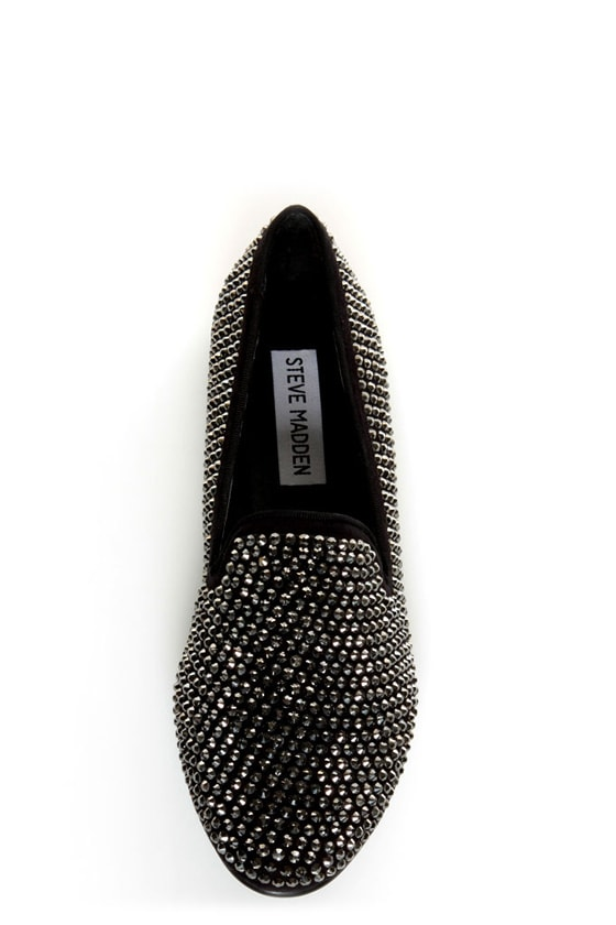 Steve Madden Conncord Black Bejeweled Smoking Slipper Flats