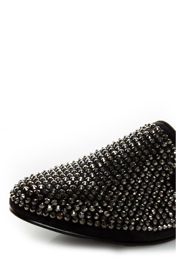 Steve Madden Conncord Black Bejeweled Smoking Slipper Flats at Lulus.com!