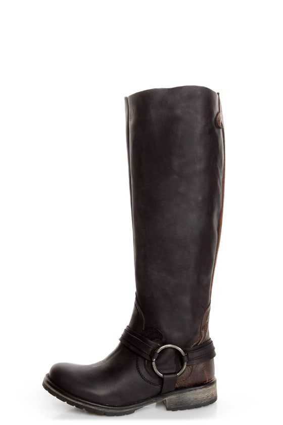 Steve Madden Judgemnt Black Leather Fleur-De-Lis Riding Boots ...
